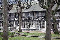 Buildings of Altre Saint Maclov Courtyard used as burial ground in medieval times in Rouen, France