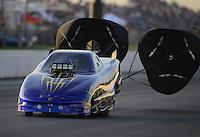 May 18, 2012; Topeka, KS, USA: NHRA top alcohol funny car driver XXXX during qualifying for the Summer Nationals at Heartland Park Topeka. Mandatory Credit: Mark J. Rebilas-
