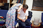 Sondre Lerche spends a few moments with his wife Mona Fastvold Lerche after playing at Central Presbytarian Church in Austin, Texas during the 2011 SXSW Music Festival.