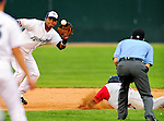 21 August 2010: Vermont Lake Monsters' infielder Hendry Jimenez completes a pick off at second against the Brooklyn Cyclones at Centennial Field in Burlington, Vermont. The Cyclones defeated the Lake Monsters 8-7 in a 12-inning game that had to be resumed in Brooklyn on August 31 due to late inning rain. Mandatory Credit: Ed Wolfstein Photo