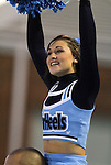 13 October 2011: UNC cheerleader. The University of North Carolina Tar Heels defeated the Duke University Blue Devils 1-0 at Fetzer Field in Chapel Hill, North Carolina in an NCAA Division I Women's Soccer game.