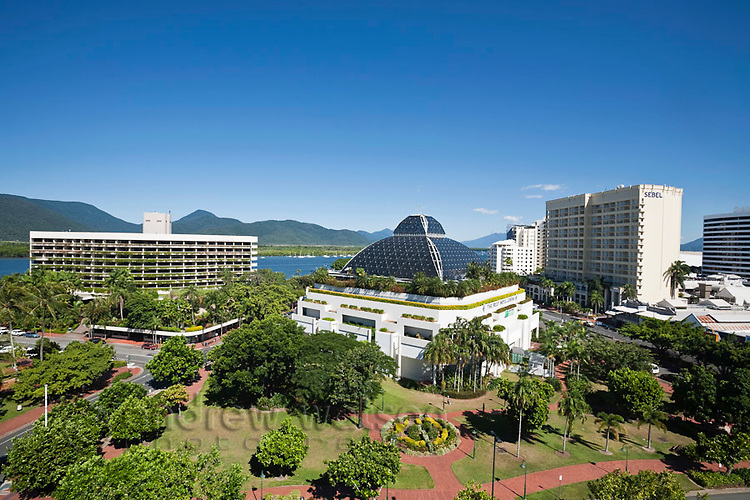 City skyline including Hilton Hotel, Reef Hotel Casino and Sebel.  Cairns, Queensland, Australia
