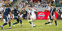 CARSON, CA - June 23, 2012: LA forward Robbie Keane (7) makes a goal shot during the LA Galaxy vs Vancouver Whitecaps FC match at the Home Depot Center in Carson, California. Final score LA Galaxy 3, Vancouver Whitecaps FC 0.