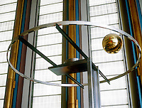 FOUCAULT PENDULUM<br /> Shows Axial Rotation of the Earth<br /> United Nations bldg. A simple pendulum suspended from a long wire and set into motion along a meridian. Plane of motion turns clockkwise in N.Hemisphere and counterclockwise in S.Hemisphere, demonstrating axial rotation of earth. [After Jean Bernard L Foucault&eacute;on]