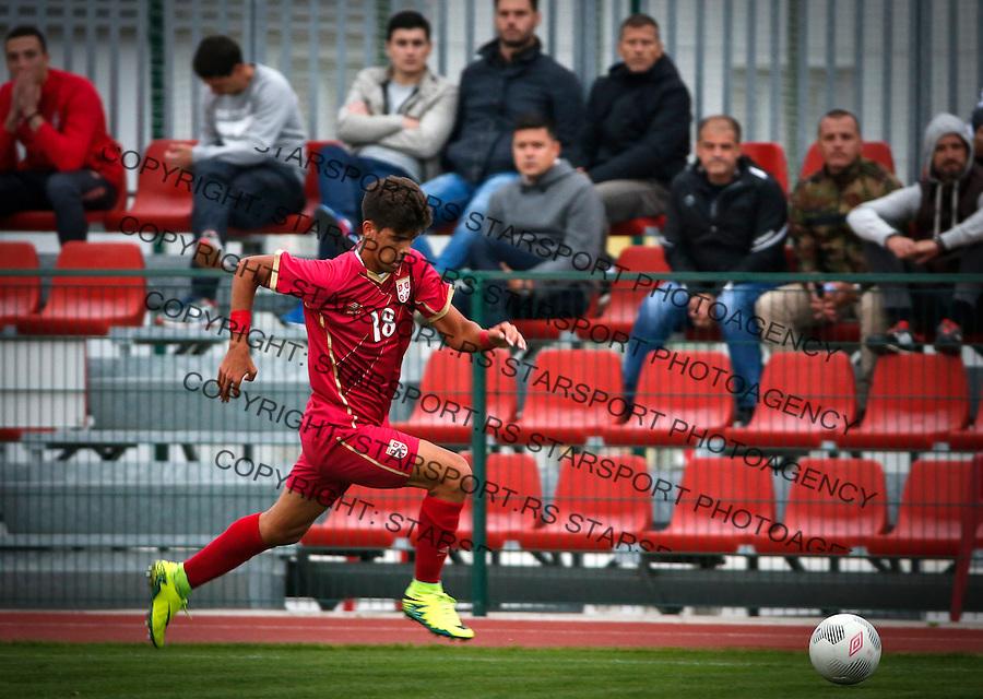 Fudbal Soccer<br /> International Friendly-Prijateljski mec<br /> Srbija U17 v Belorusiaj U17<br /> Stefan Stankovic<br /> Stara Pazova, 20.09.2016<br /> foto: Srdjan Stevanovic/Starsportphoto &copy;