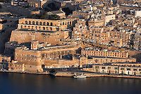 Aerial view of Valletta, Malta, featuring  the Ramparts and the Upper Barrakka Gardens (Il-Barrakka ta' Fuq), pictured on June 7, 2008, in the morning.  The Republic of Malta consists of seven islands in the Mediterranean Sea of which Malta, Gozo and Comino have been inhabited since c.5,200 BC. Nine of Malta's important historical monuments are UNESCO World Heritage Sites, including  the capital city, Valletta, also known as the Fortress City. Built in the late 16th century and mainly Baroque in style it is named after its founder Jean Parisot de Valette (c.1494-1568), Grand Master of the Order of St John. Picture by Manuel Cohen.