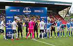 St Johnstone v Falkirk&hellip;23.07.16  McDiarmid Park, Perth. Betfred Cup<br />The players shake hands prior to kick off<br />Picture by Graeme Hart.<br />Copyright Perthshire Picture Agency<br />Tel: 01738 623350  Mobile: 07990 594431
