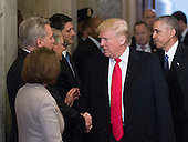United States President-elect Donald Trump, followed by US President Barack Obama, greets Congressional leadership as they arrive for Trump's inauguration ceremony on Capitol Hill in Washington, Friday, January 20, 2017. From left are, US House Minority Leader Nancy Pelosi (Democrat of California), US House Majority Leader Kevin McCarthy (Republican of California), US Senate Majority Leader Mitch McConnell (Republican of Kentucky), and US House Speaker Paul Ryan (Republican of Wisconsin).<br /> Credit: J. Scott Applewhite / Pool via CNP