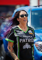 Jul 9, 2016; Joliet, IL, USA; NHRA funny car driver Alexis DeJoria during qualifying for the Route 66 Nationals at Route 66 Raceway. Mandatory Credit: Mark J. Rebilas-USA TODAY Sports