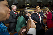 United States President Barack Obama greets members of Congress as he arrives for his State of the Union address in fornt of a joint session of Congress on Tuesday, January 24, 2012 on Capitol Hill in Washington, DC..Credit: Saul Loeb / Pool via CNP