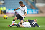 Dundee v St Johnstone...15.08.15  SPFL   Dens Park, Dundee<br /> Chris Millar is tackled by Nicky Low<br /> Picture by Graeme Hart.<br /> Copyright Perthshire Picture Agency<br /> Tel: 01738 623350  Mobile: 07990 594431