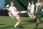 7 November 2007: Virginia's Sinead Farrelly (left) plays the ball away from Miami's Jill Satterthwaite (2). The University of Virginia tied the University of Miami 0-0 at the Disney Wide World of Sports complex in Orlando, FL in an Atlantic Coast Conference tournament quarterfinal match.  Virginia advanced to the semifinals on penalty kicks, 4-2.