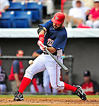 8 March 2009: Washington Nationals' first baseman Nick Johnson in action during a Spring Training game against the New York Mets at Space Coast Stadium in Viera, Florida. The Nationals defeated the Mets 8-3 in the Grapefruit League matchup. Mandatory Photo Credit: Ed Wolfstein Photo