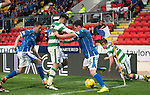 St Johnstone v Celtic&hellip;.McDiarmid Park, Perth.. 11.05.16<br />Dany Swanson and Steven MacLean battle with Patrick Roberts and Anthony Ralston<br />Picture by Graeme Hart.<br />Copyright Perthshire Picture Agency<br />Tel: 01738 623350  Mobile: 07990 594431