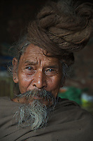 Sadus long hair at the  Quarters at Pashupatinath Cremation and Temple Area in Kathmadu, Nepal