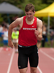 LITCHFIELD,  CT-052017JS21- ACTION PERSON NORTH--Northwestern's Jameson Weber competes in the 100M dash finals during the Berkshire League Outdoor Track and Field Championships Saturday at the Plumb Hill Sports Complex in Litchfield. <br /> Jim Shannon Republican-American