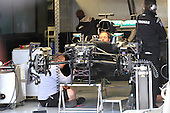 Montreal, Canada.Personnel doing last minute adjustments to Nico Rosberg Mercedes  car for the Formula One Canadian Grand Prix held at the circuit Gilles-Villeneuve in Montreal June 9 2016