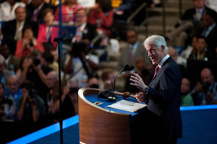 UNITED STATES - September 5: Former President Bill Clinton at the Democratic National Convention in the Time Warner Cable Arena in Charlotte, North Carolina. The Democratic National Convention is in its 2nd day and runs through September 6th. (Photo By Douglas Graham/CQ Roll Call)