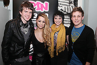 NO REPRO FEE. 3/2/2011. OPENING OF THE COUNTER. Spin FM dj's Dara Quilty and Brian Maher are pictured with Ci Ci Cavanagh and Dani Robinson stars of TVs Fade Street at the opening of the Counter restaurant on Suffolk St Dublin. Picture James Horan/Collins Photos