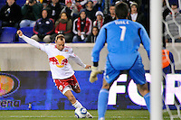 Joel Lindpere (20) of the New York Red Bulls looks to cross the ball. The New York Red Bulls  and the Houston Dynamo played to a 1-1 tie during a Major League Soccer (MLS) match at Red Bull Arena in Harrison, NJ, on April 02, 2011.