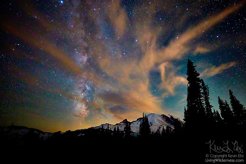 Midnight Sky over Mount Rainier, Washington
