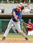 10 March 2006: George Lombard, outfielder for the Washington Nationals, at bat during a Spring Training game against the Houston Astros. The Astros defeated the Nationals 8-6 at Osceola County Stadium, in Kissimmee, Florida...Mandatory Photo Credit: Ed Wolfstein..