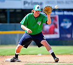 18 June 2010: Vermont Lake Monsters infielder Jack Walker warms up prior to facing the Lowell Spinners at Centennial Field in Burlington, Vermont. The Lake Monsters defeated the Spinners 9-4 in the NY Penn League season home opener. Mandatory Credit: Ed Wolfstein Photo