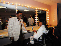 Legendary musician Little Richard poses in his dressing room with Fats Domino after he performed in New Orleans Saturday May 30,2009 as part of the Domino Effect Benefit concert which also featured B.B. King and Chuck Berry. Domino Effect Benefit Concert legendary performers gather in New Orleans at the Arena to raise funds and awarness for hurricane Katrina rebuilding for Fats Domino the Tipatina Foundation and the Drew Brees' foundation. Photo&copy;Suzi Altman ALL IMAGES &copy;SUZI ALTMAN. IMAGES ARE NOT PUBLIC DOMAIN. CALL OR EMAIL FOR LICENSE, USE, OR TO PURCHASE PRINTS 601-668-9611 OR EMAIL SUZISNAPS@AOL.COMPhoto&copy;Suzi Altman