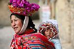 Americas, South America, Peru, Ollanta.  Quechuan woman with baby.
