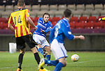 Partick Thistle v St Johnstone....14.12.13    SPFL<br /> Stevie May fires in a shot at goal only to see it go wide<br /> Picture by Graeme Hart.<br /> Copyright Perthshire Picture Agency<br /> Tel: 01738 623350  Mobile: 07990 594431