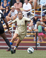 Boston College forward Victoria DiMartino (1) at midfield. After two overtime periods, Boston College tied University of Central Florida, 2-2, at Newton Campus Field, September 9, 2012.