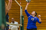 1 November 2015: Yeshiva University Maccabee Middle Blocker Marissa Almoslino, a Junior from Seattle, WA, hits one over against the Saint Joseph College Bears at SUNY Old Westbury in Old Westbury, NY. The Bears shut out the Maccabees 3-0 in NCAA women's volleyball, Skyline Conference play. Mandatory Credit: Ed Wolfstein Photo *** RAW (NEF) Image File Available ***