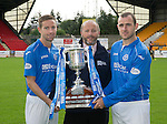 St Johnstone FC 2014-2015 Season Photocall..15.08.14<br /> Binn Group Commercial Manager Jim Brown pictured with Steven MacLean and Dave Mackay and the Scottish Cup<br /> Picture by Graeme Hart.<br /> Copyright Perthshire Picture Agency<br /> Tel: 01738 623350  Mobile: 07990 594431