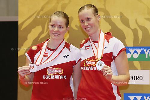 Christinna Pedersen & Kamilla Rytter Juhl (DEN), SEPTEMBER 22, 2013 - Badminton : Yonex Open Japan 2013 Women's Doubles victory ceremony at Tokyo Metropolitan Gymnasium, Tokyo, Japan. (Photo by Yusuke Nakanishi/AFLO SPORT) [1090]