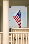 American flag and porch.
