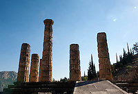 Temple of Apollo, Doric columns, Dephi Archaeologica Site, Delphi, Greece