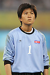 09 August 2008: Jon Myong Hui (PRK).  The women's Olympic soccer team of Brazil defeated the women's Olympic soccer team of North Korea 2-1 at Shenyang Olympic Sports Center Wulihe Stadium in Shenyang, China in a Group F round-robin match in the Women's Olympic Football competition.