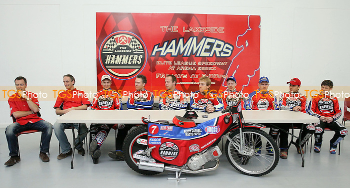 Stuart Doulgas (co-Promoter), John Cook (co-Promoter), Joonas Kylmakorpi, Leigh Lanham, Paul Hurry (team captain), Adam Shields, Henning Bager, Krzysztof Kasprzak, Christian Hefenbrock, Chris Neath - Lakeside Hammers 2007 Press Day - 07/03/07 - Mandatory Credit: Gavin Ellis/TGSPHOTO..