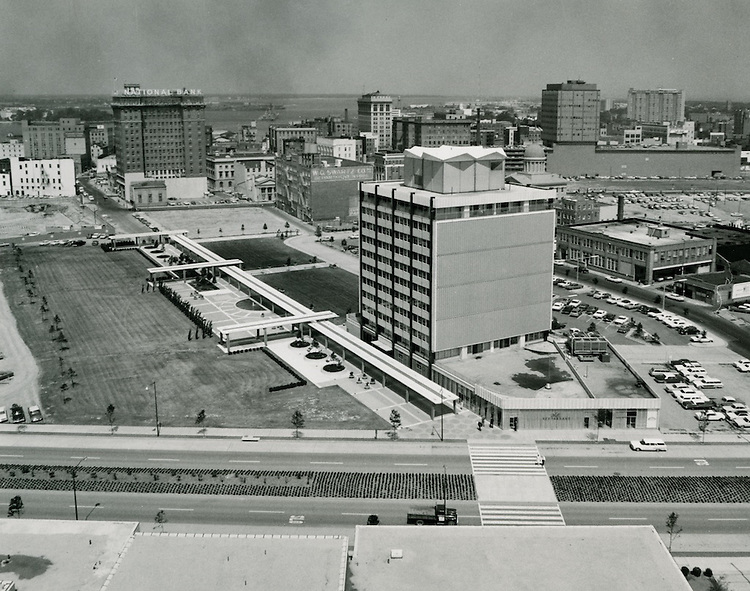 1965 May 27..Redevelopment..Downtown South (R-9)..Looking West at Main Street and Financial Center..HAYCOX - R. V. Fishbeck.NEG#..