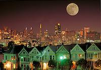 City; Victorian home; skyline; park; Alamo Square; night; moon;. San Francisco California.