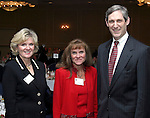 "SOUTHBURY, CT - 1 April 2004 - 040104TH05 - Kathie Hanratty of Watertown, Co-Chair of the United Way Campaign 2003-04,  Karen Pollard of Middlebury, Co-Chair of the United Way Campaign 2003-04, and Andrew Skipp of Middlebury, in-coming Chair of the 2004-05 campaign, pose at the United Way of Greater Waterbury ""Digging Deeper"" Campaign 2003-04 Awards Dinner held at the Southbury Hilton Hotel Thursday night.  TODD HOUGAS PHOTO"