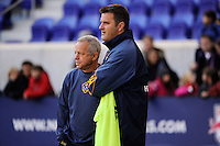 Los Angeles Galaxy associate head coach Dave Sarachan (L) and assistant coach Curt Onalfo (R) during warmups prior to the 1st leg of the Major League Soccer (MLS) Western Conference Semifinals against the New York Red Bulls at Red Bull Arena in Harrison, NJ, on October 30, 2011.