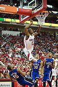 NC Sate's Rodney Purvis goes airborne against Duke at PNC Arena, Raleigh, NC, Jan. 12, 2013. The Wolfpack defeated the Blue Devils 84-76.