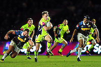 Mike Haley of Sale Sharks goes on the attack. Anglo-Welsh Cup match, between Harlequins and Sale Sharks on February 3, 2017 at the Twickenham Stoop in London, England. Photo by: Patrick Khachfe / JMP