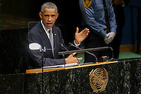New York City, NY. 23 September 2014.U.S. President Barack Obama speaks at the 69th United Nations General Assembly at United Nations Headquarters.  Photo by Kena Betancur/VIEWpress