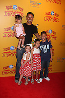 LOS ANGELES - JUL 12:  Mario Lopez and daughter (in his arms), and his neices and nephew arrives at 'Dragons' presented by Ringling Bros. & Barnum & Bailey Circus at Staples Center on July 12, 2012 in Los Angeles, CA
