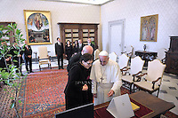 Pope Francis meets with Poland's Prime Minister Ewa Kopacz during a private audience on June 12, 2015 at the Vatican.