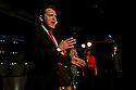 """London, UK. 16/11/2011. """"A Walk On Part"""" opens at the Soho Theatre. The play is based on the diaries of MP Chris Mullin. Picture shows Hywel Morgan as Tony Blair with Tracy Gillman, Hywel Morgan and Sara Powell in the background. Photo credit: Jane Hobson"""