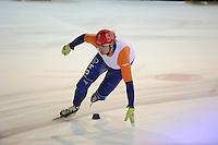 SHORTTRACK: AMSTERDAM: 04-01-2014, Jaap Edenbaan, NK Shorttrack, Prominenten Relay, Jan Hoogeveen, ©foto Martin de Jong