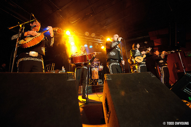 Photos of Mariachi El Bronx with members of hardcore band The Bronx, performing at Pop's in Sauget, IL on April 12, 2010.